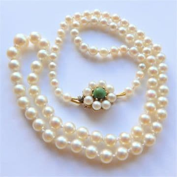 """Edwardian Saltwater Pearls 9ct Gold Pearl & Green Turquoise Clasp 18"""" QUALITY"""